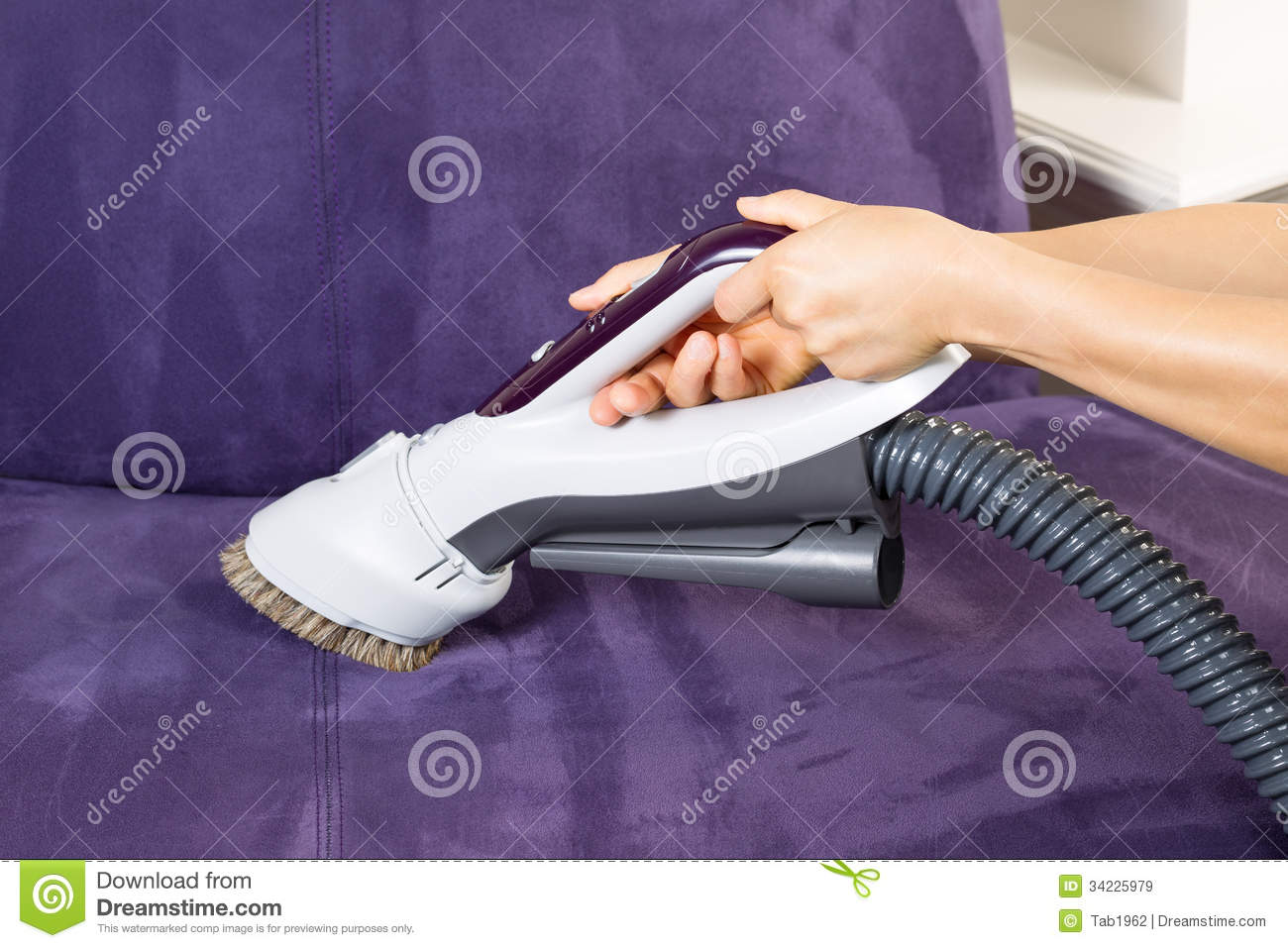 Sofa Vacuum Cleaner Brush Cleaning Leather Sofa With Vacuum Brush Stock Image Image Of