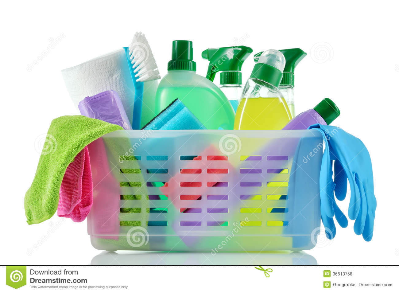Background Dapur Cleaning Products And Supplies In A Basket. Stock Photo