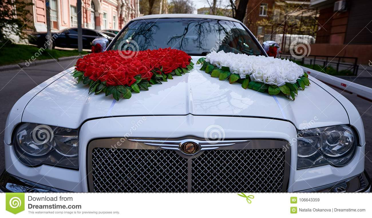 Car Decoration Weding Wedding Decoration On Wedding Car Editorial Stock Image Image Of