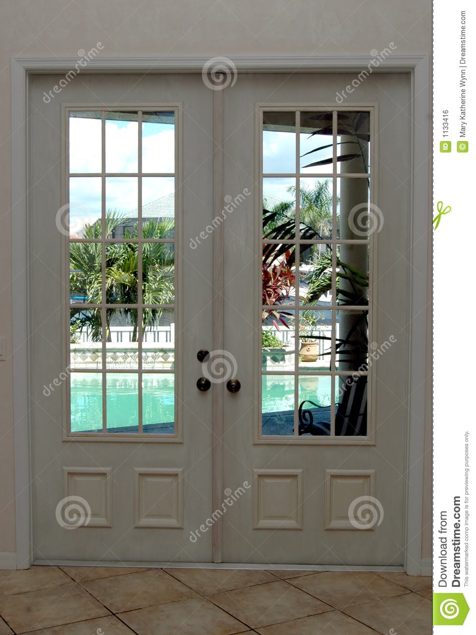 Chandelier Closed French Doors Royalty Free Stock Image - Image: 1133416