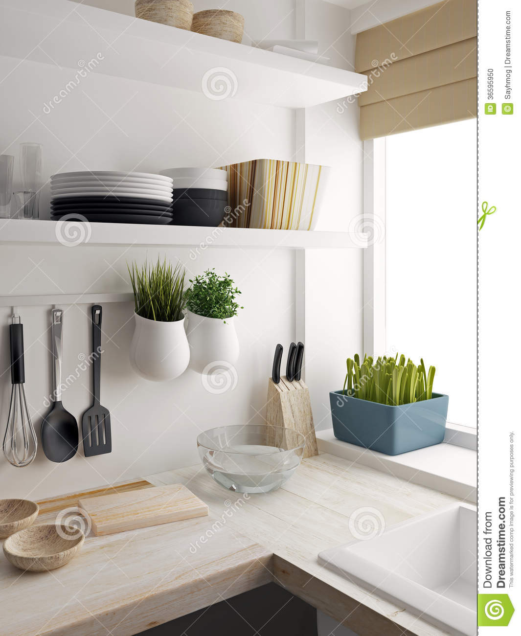 Küchenschrank 60x60 Closeup Of Kitchen Room Design Stock Illustration Image