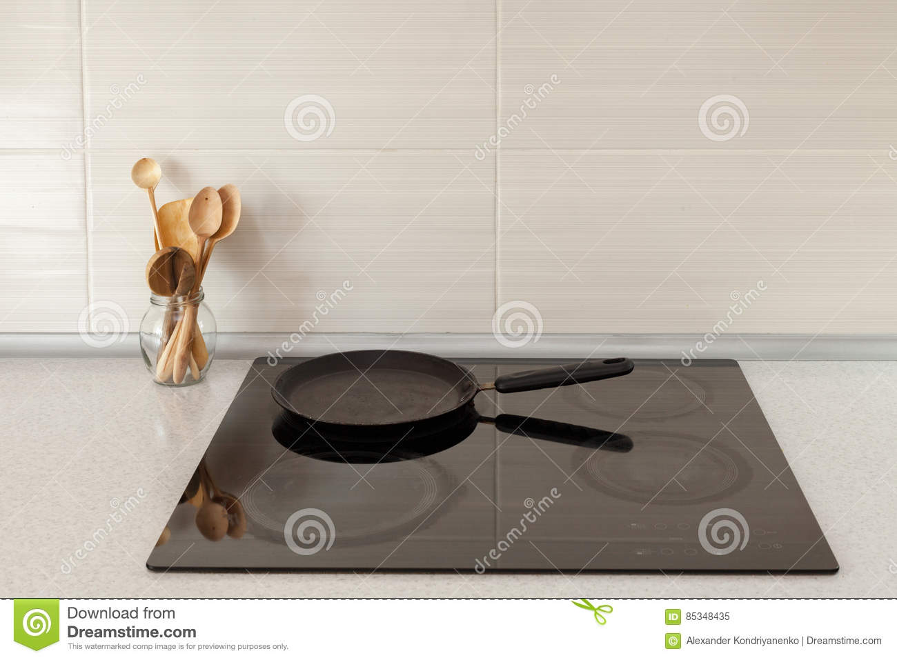 Cuisine Induction Closeup Of Pot And Wooden Spoons In Modern Kitchen With Induction