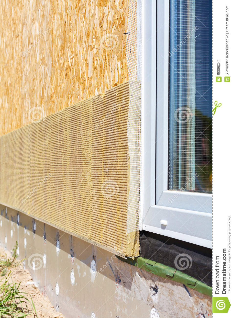 Closeup View On House Wall With Plastic Window And Insulation - Window Plastic Insulation
