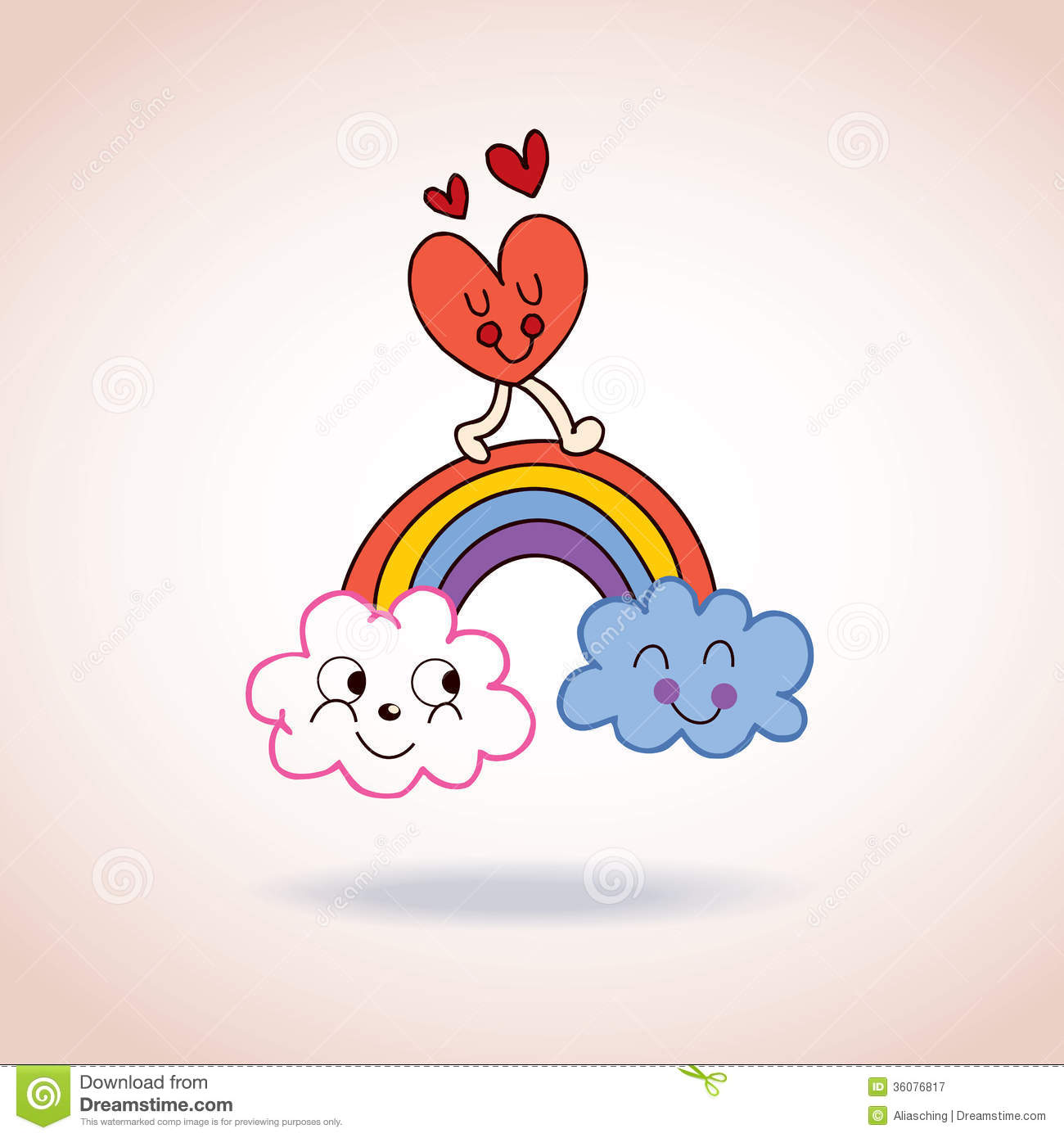 Wallpaper Cartoon Cute Couple Clouds Rainbow And Heart Cute Characters Illustration
