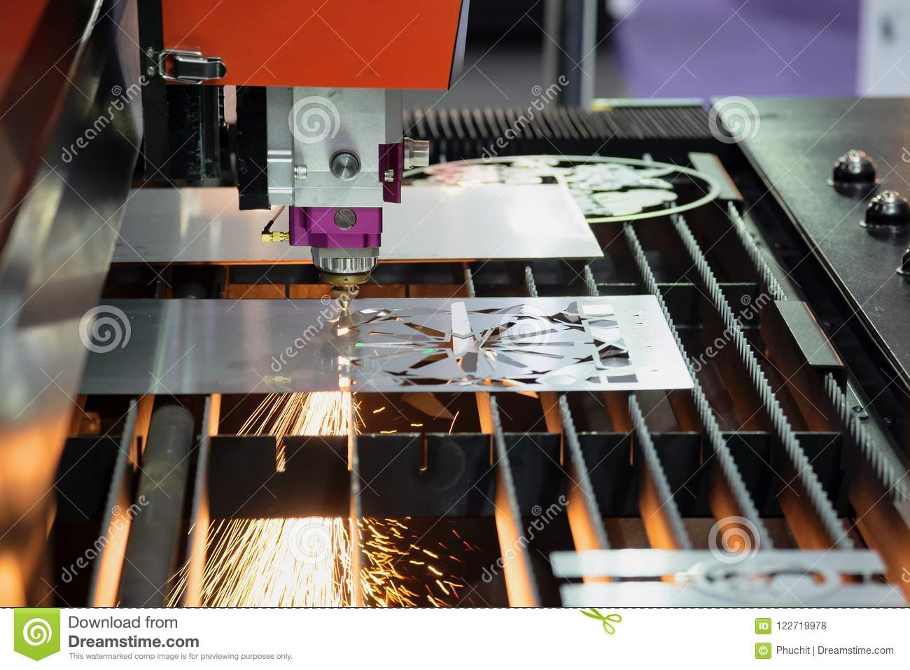 Laser Cutting Machine Metal The Cnc Fiber Laser Cutting Machine Cutting The Metal Plate Stock