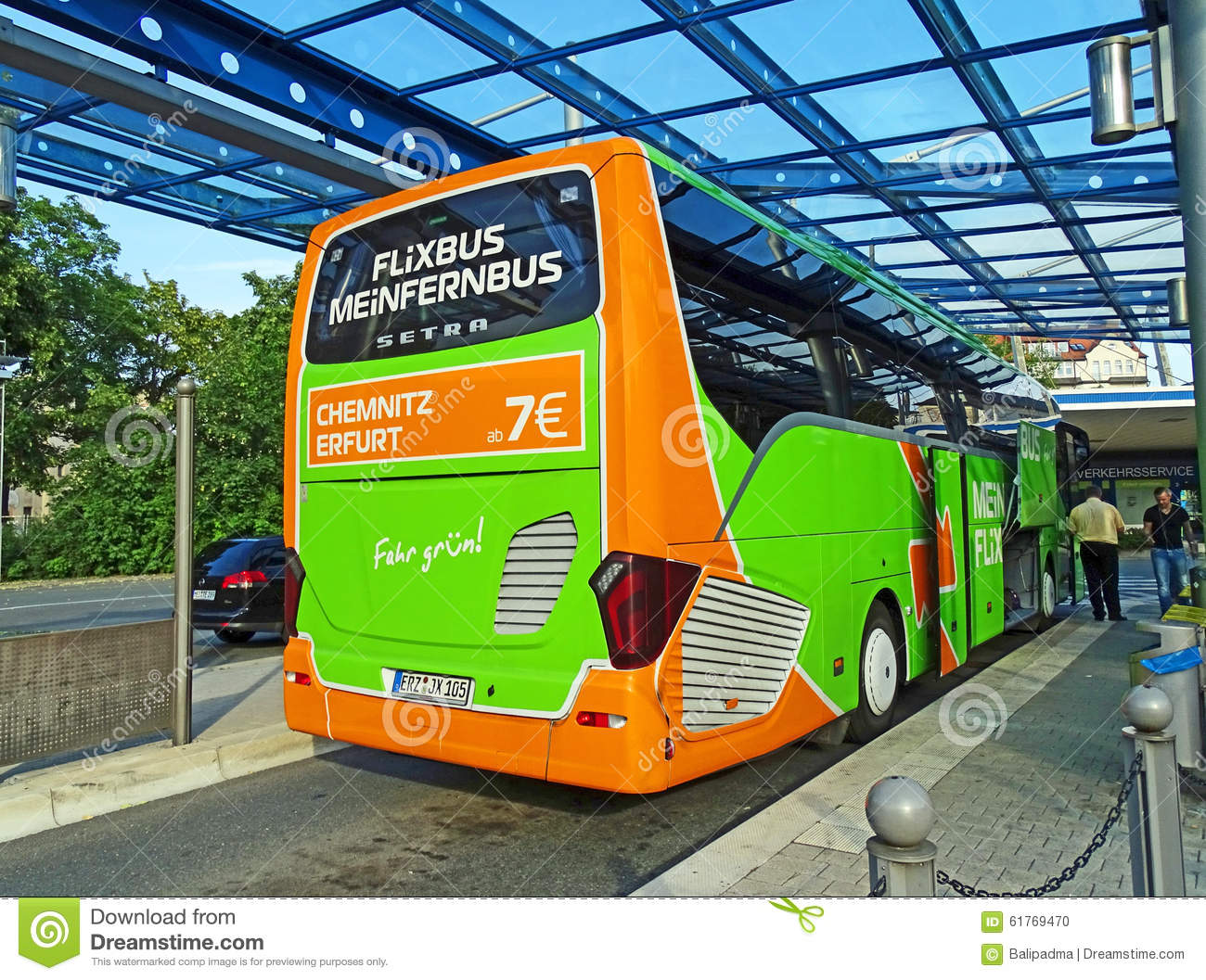 Bus Berlin Erfurt Coach Of Meinfernbus Flixbus In Chemnitz Editorial Image Image
