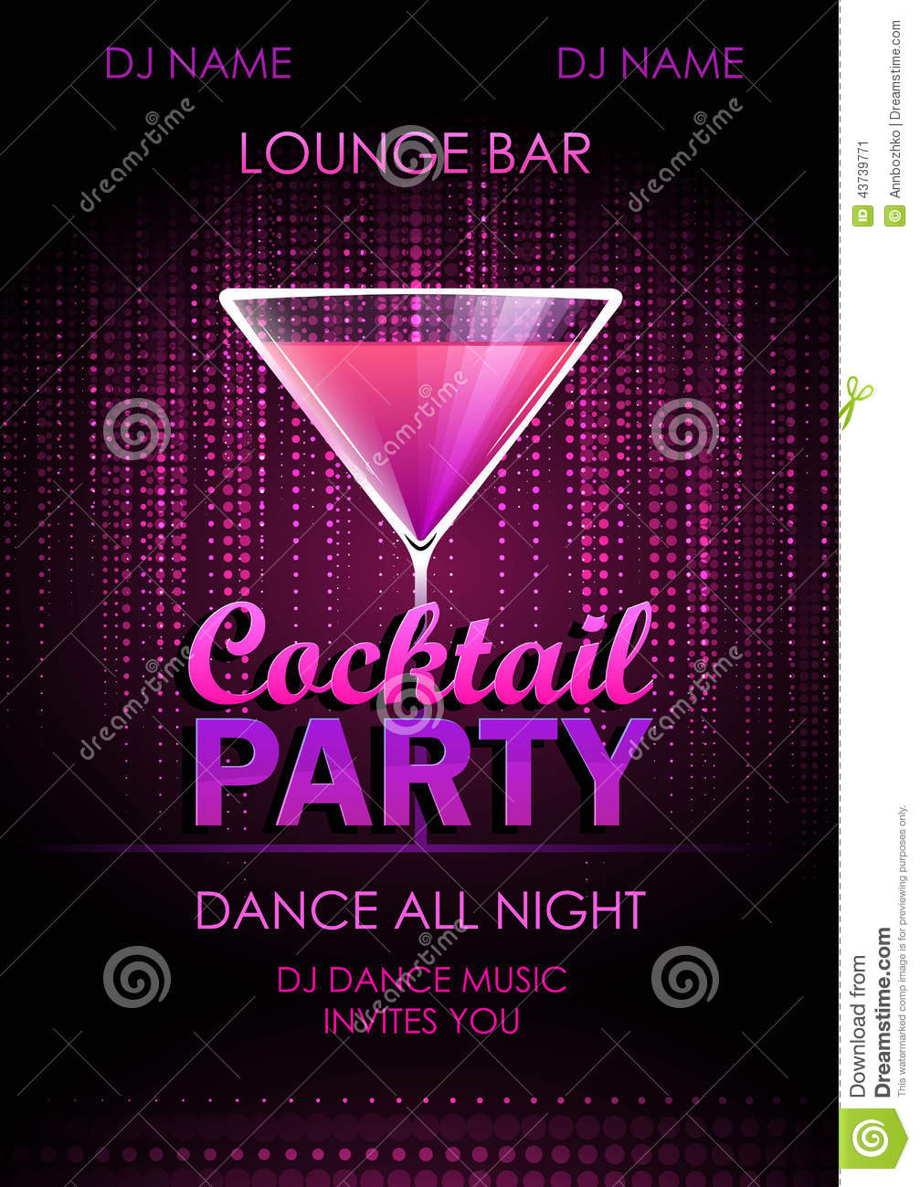 valentine cocktail party poster cartoon vector