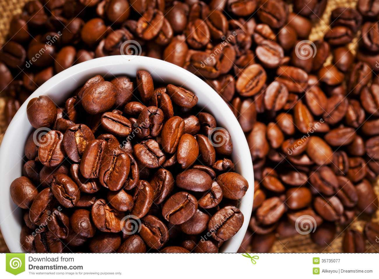 Coffee Arabica Coffee Bean Coffee Cup And Arabica Beans On Cloth Sack Royalty Free
