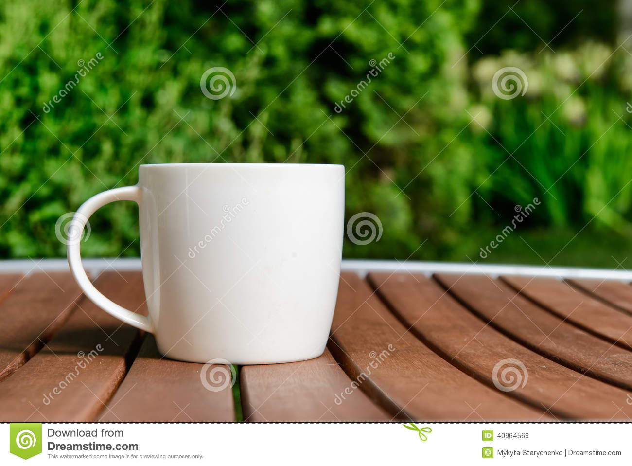 Bru Coffee Green Garden Coffee Cup In Green Garden On Table Stock Photo Image