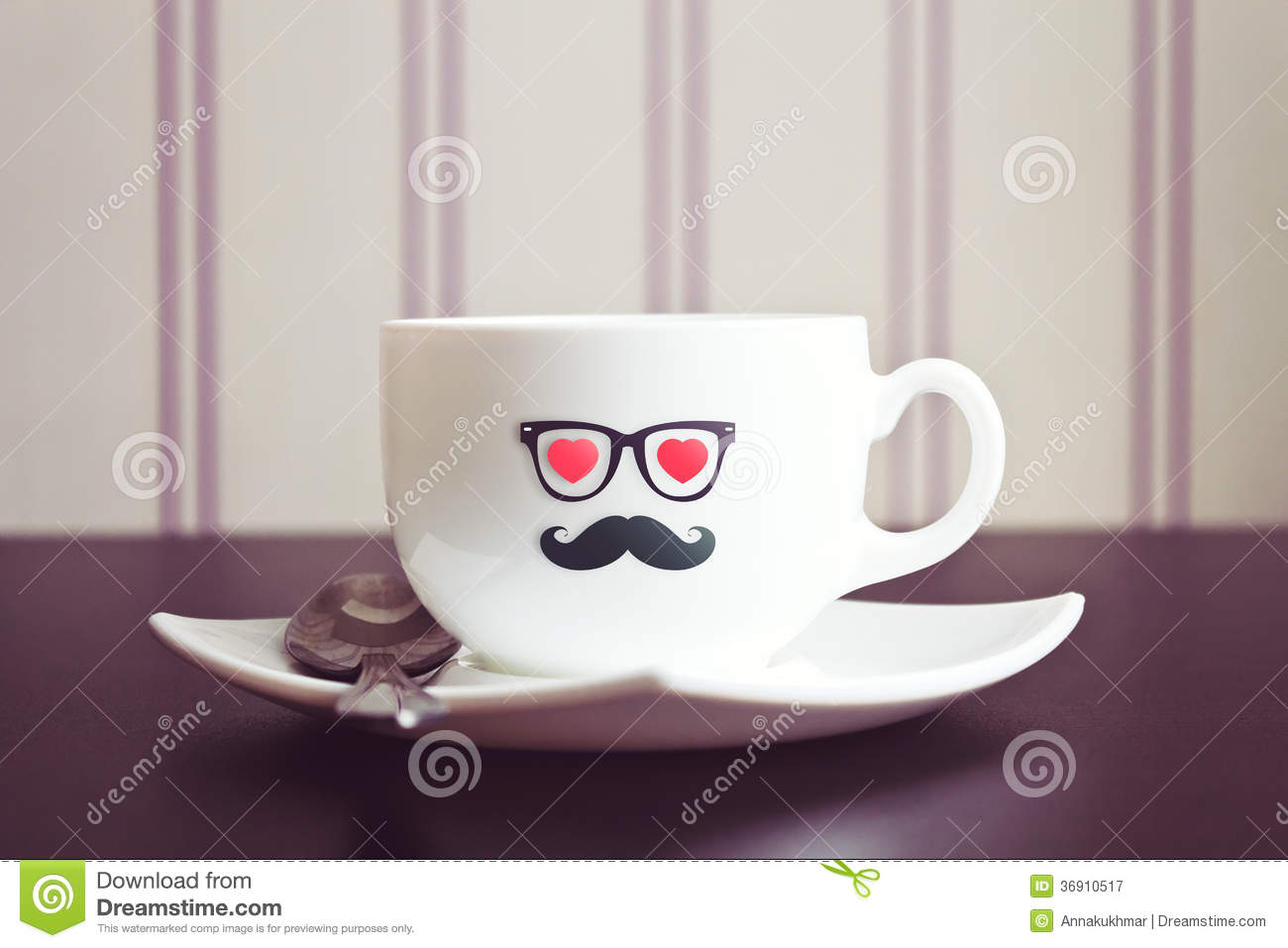 Black And White Striped Wallpaper Coffee Cup Hipster Concept Background Royalty Free Stock