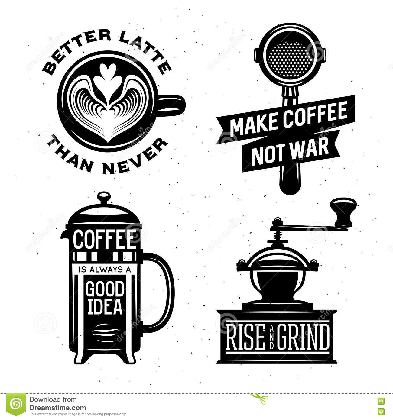 Coffee Latte Art Quotes Coffee Related Vintage Vector Illustration With Quotes
