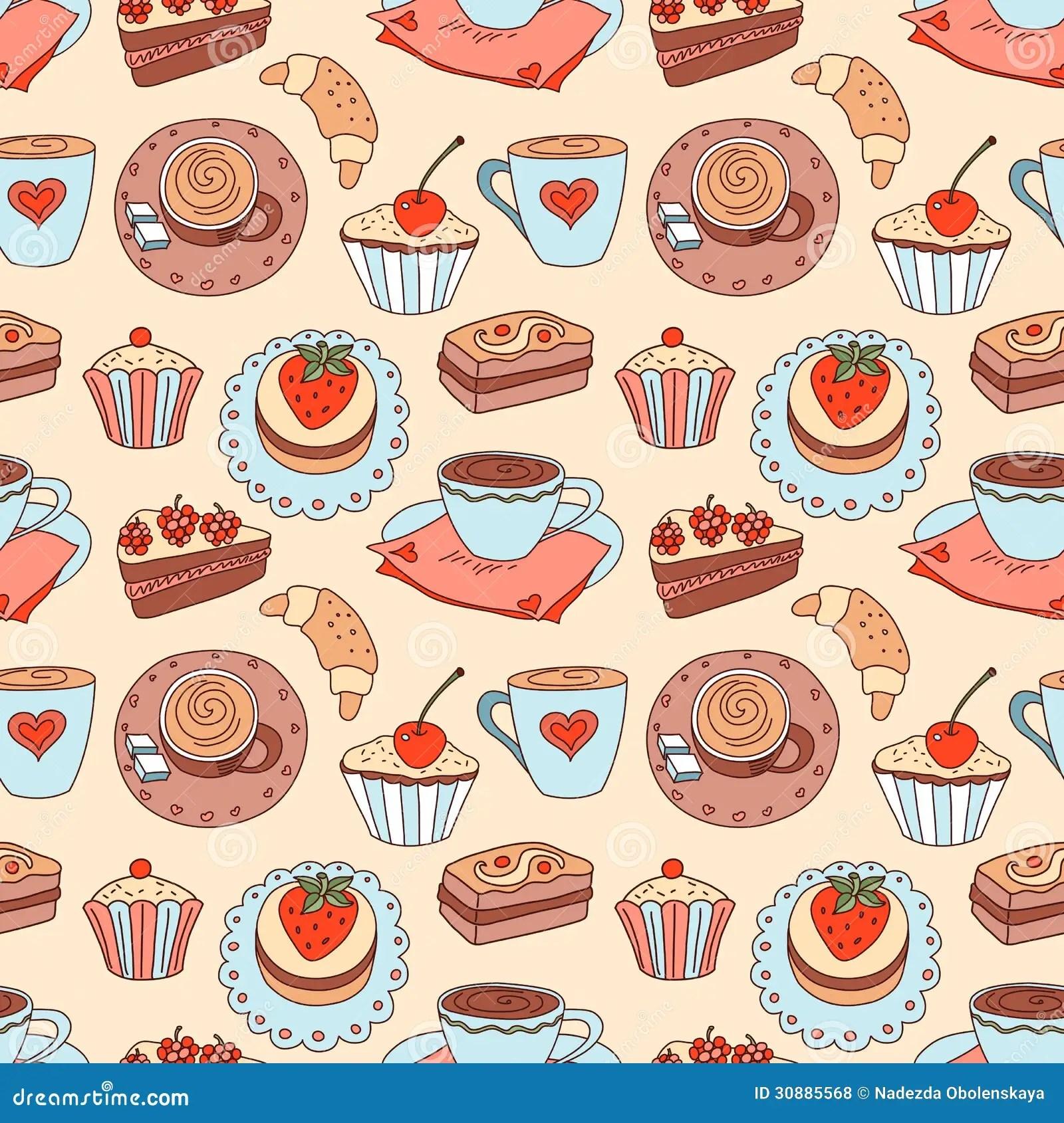 Cute Coffee Mug Wallpaper Coffee Seamless Cartoon Pattern Royalty Free Stock Photos