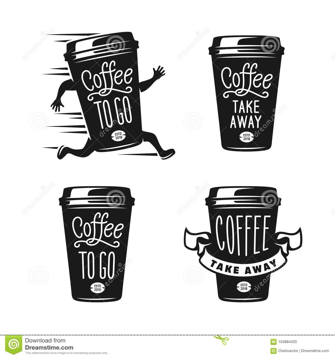 Americano Coffee To Go Coffee To Go Emblems Set Take Away Coffee Labels Vector