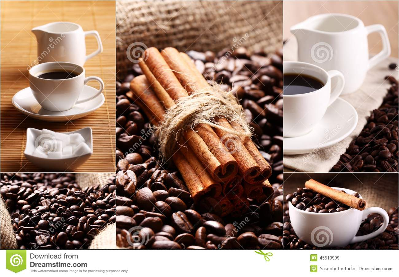 Fototapeten Küchenmotive Collage With Coffee Grains Cinnamon And Cups Stock Image