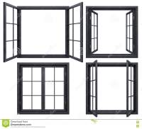 Collection Of Black Window Frames Isolated On White Stock ...