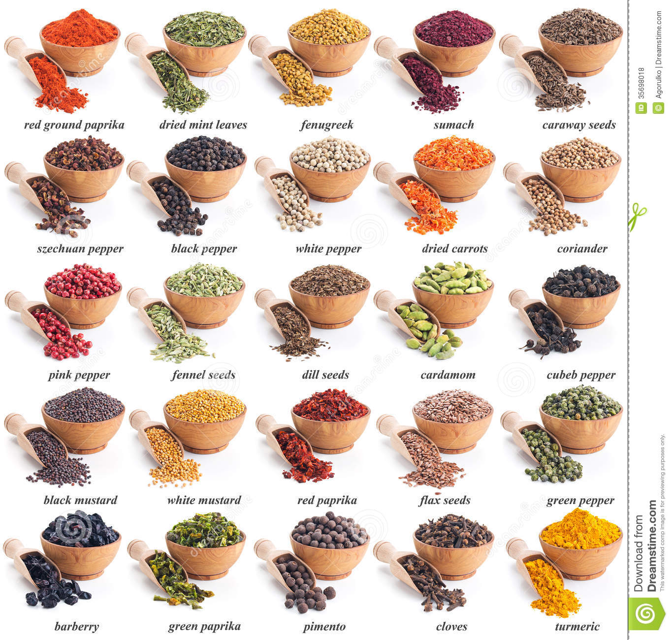 Etiketten Voor Kruidenpotjes Collection Of Different Spices And Herbs Royalty Free