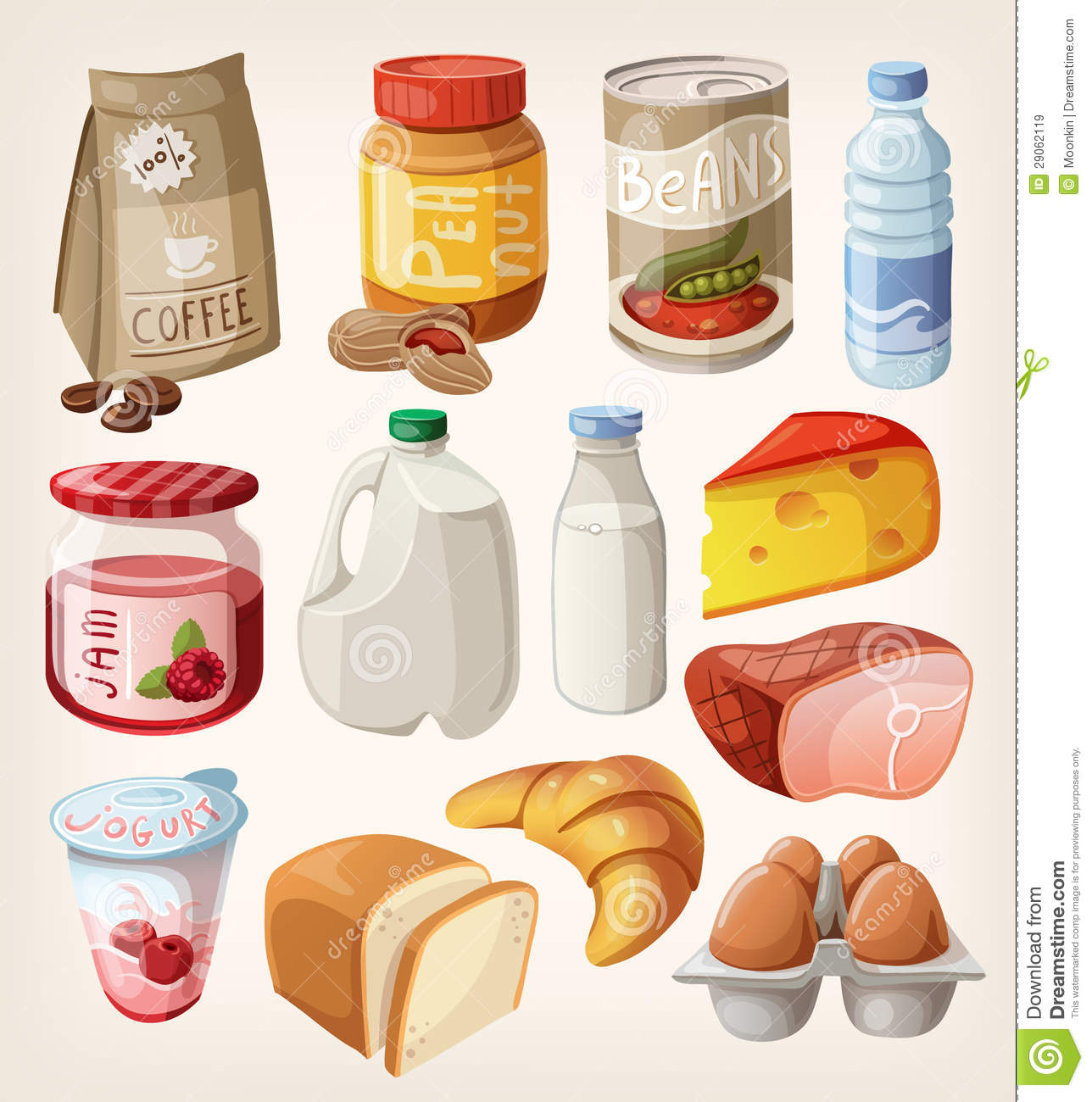 Buy Food Collection Of Food That We Buy Or Eat Every Day Stock