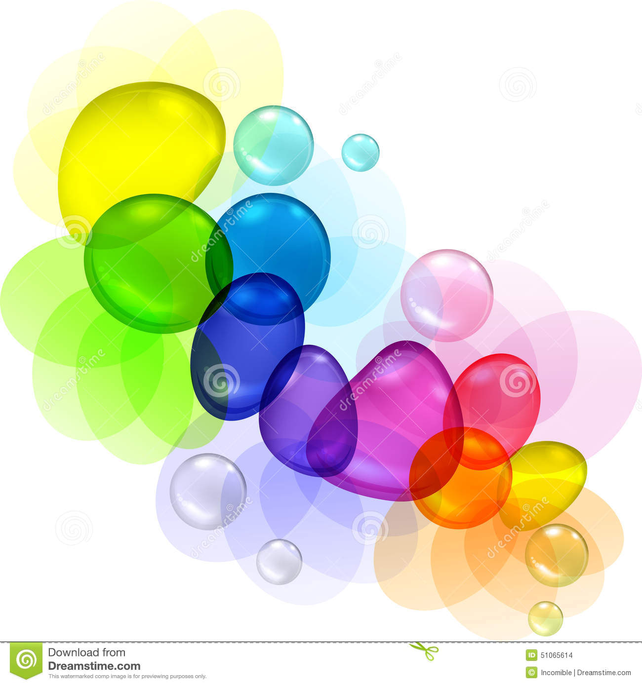 Drops Rainbow 3d Wallpaper Color Abstract With Transparent Bubbles And Drops Stock
