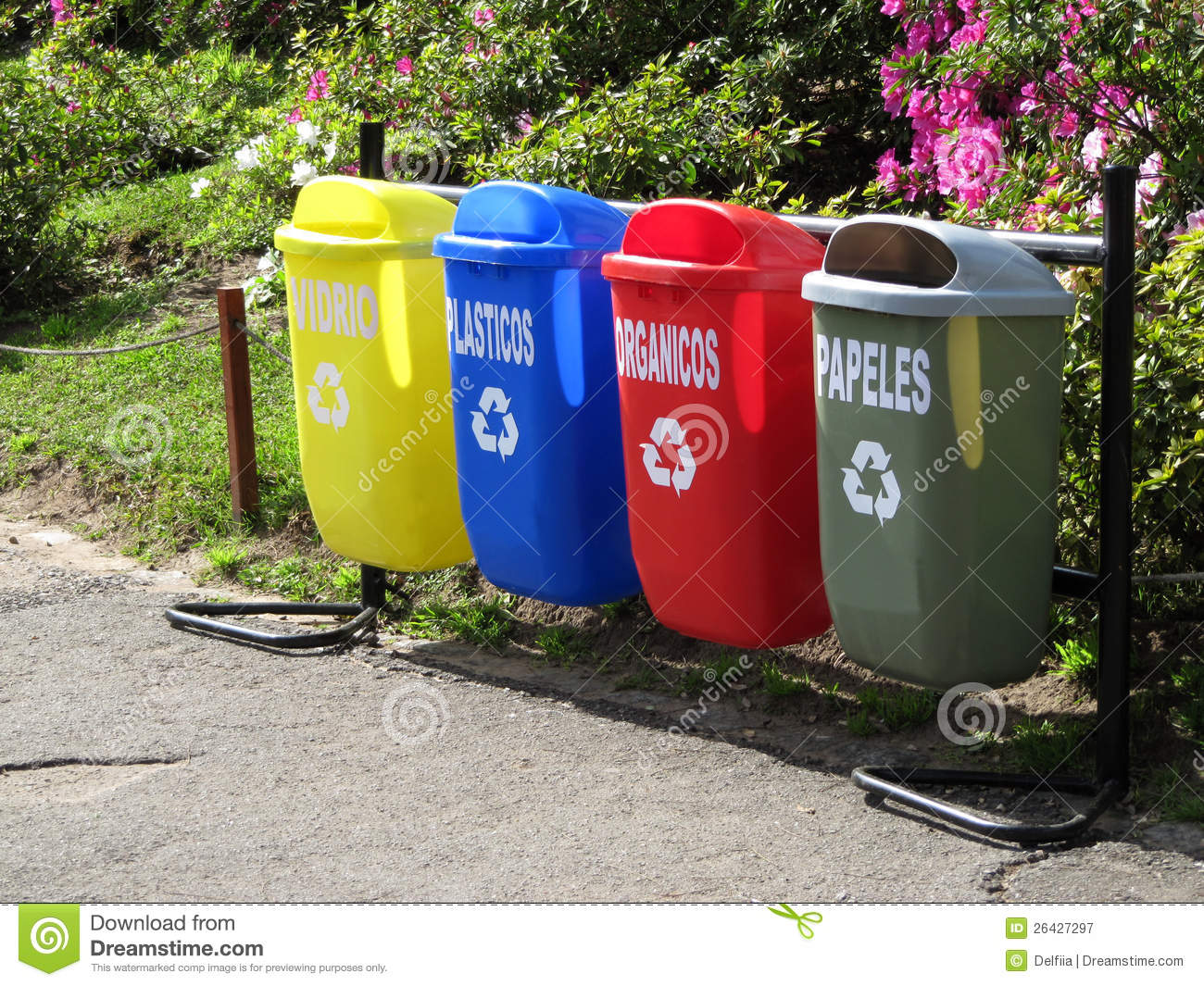 Colorful Garbage Cans Color Trash Cans For Garbage Separation Stock Image Image Of