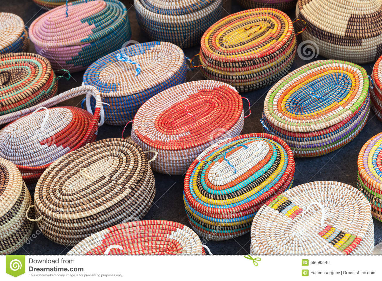 African Woven Hamper Colorful African Wicker Baskets In A Row Stock Photo