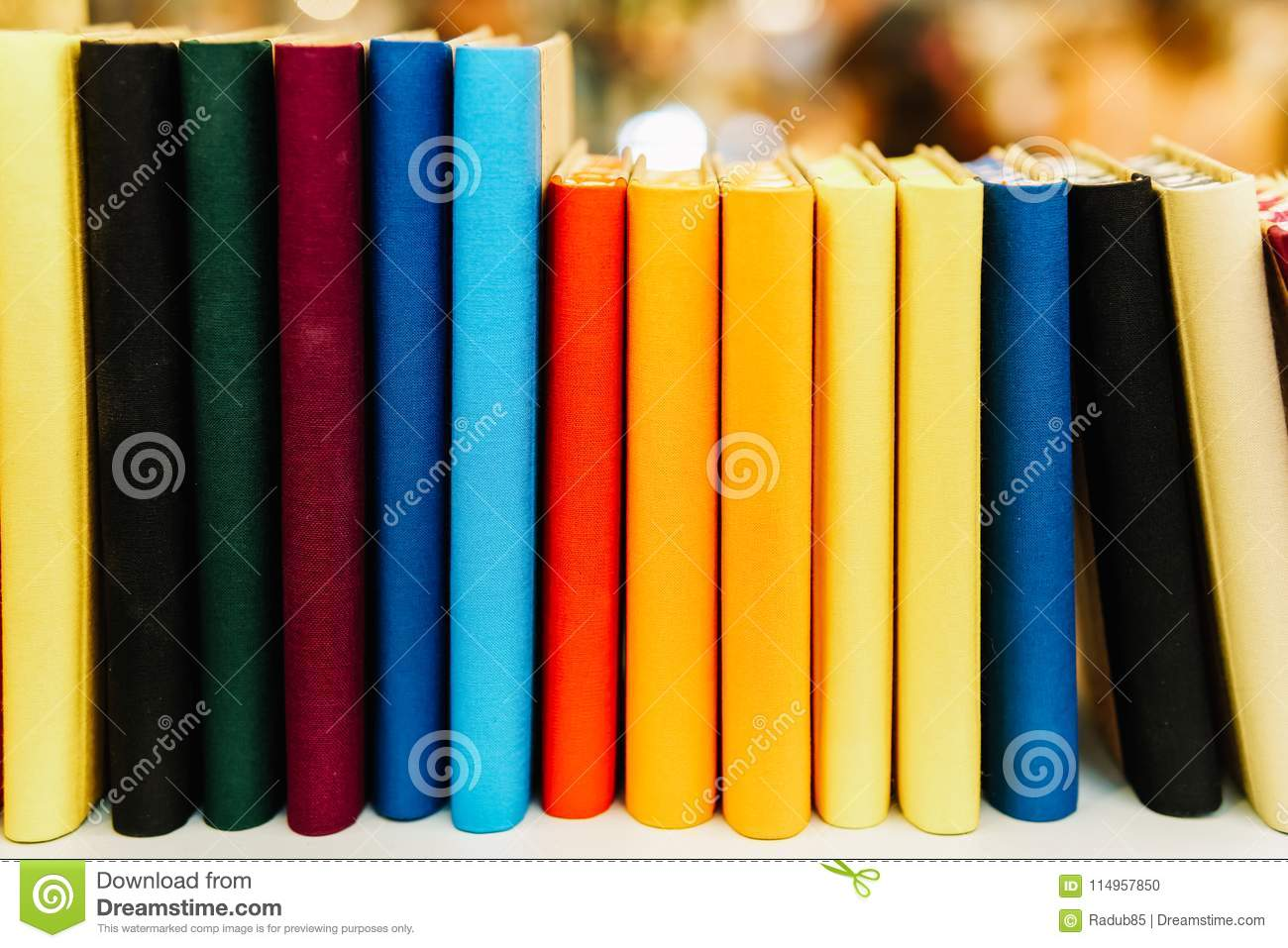 After Libros Orden Colorful Agenda Books In A Row On Shelf Stock Photo Image Of