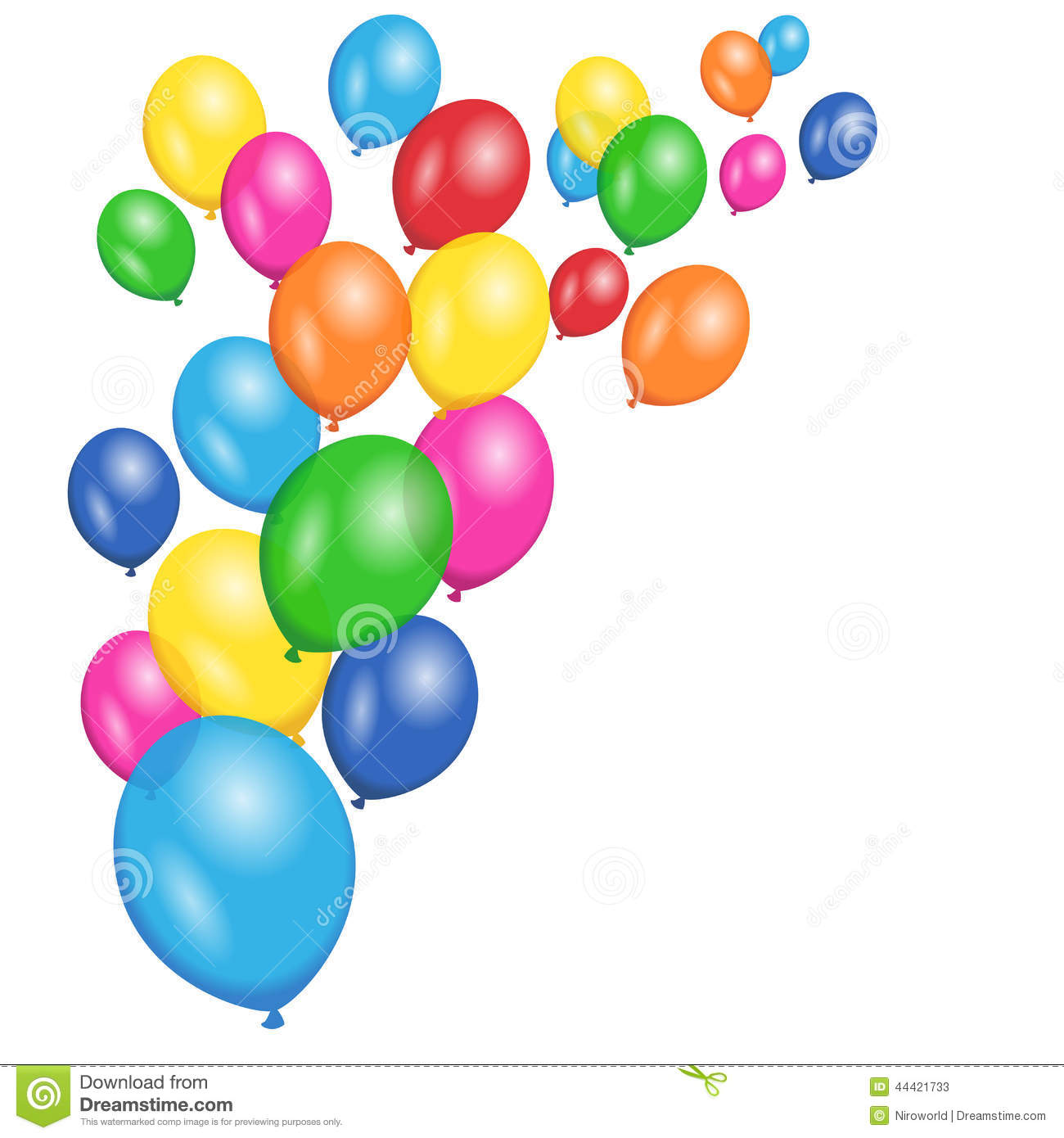 Wallpaper Border Falling Off Colorful Balloons Party Vector Background Stock