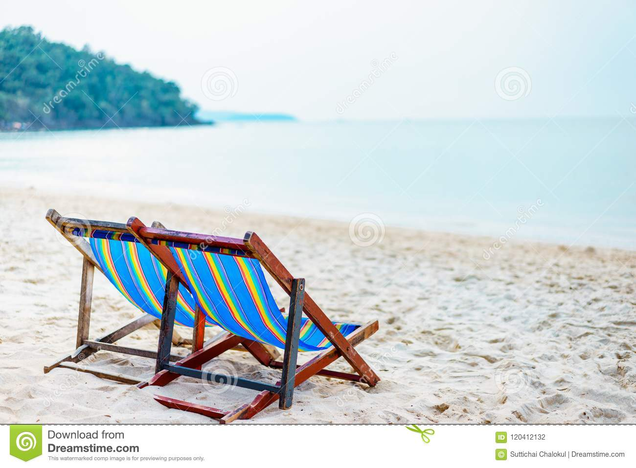 Colorful Beach Chair On The Beach With Beautiful Blue Sky On Sunny Day Relaxing In Beach Chairs Stock Photo Image Of Chair Summer 120412132