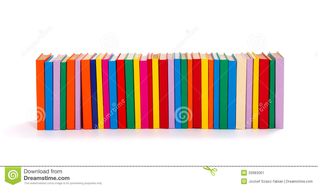 Row Of Books Vector Colorful Books In A Row Stock Image Image 33983061