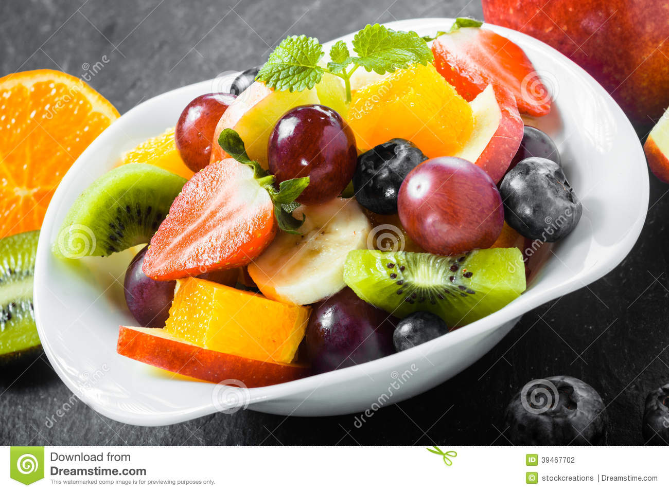 Colorful Fruit Bowl Colorful Bowl Of Healthy Tropical Fruit Salad Stock Photo