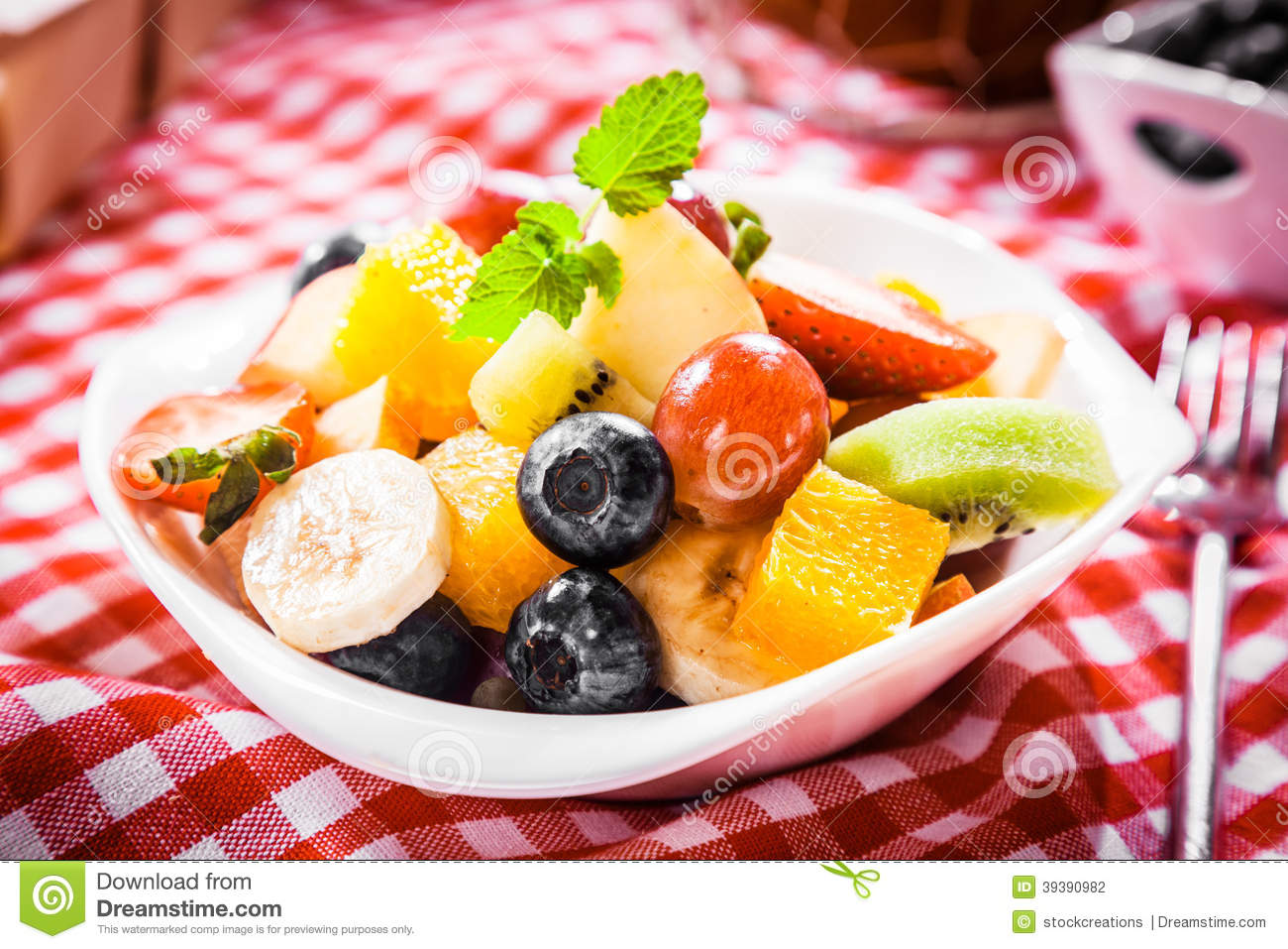 Colorful Fruit Bowl Colorful Bowl Of Tropical Fruit Salad Stock Photo Image