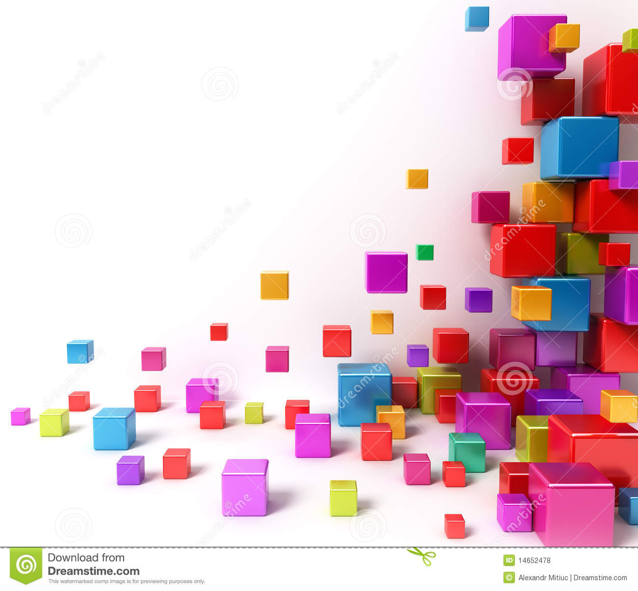 3d Geometric Shapes Wallpaper White Colorful Boxes Abstract Background Royalty Free Stock