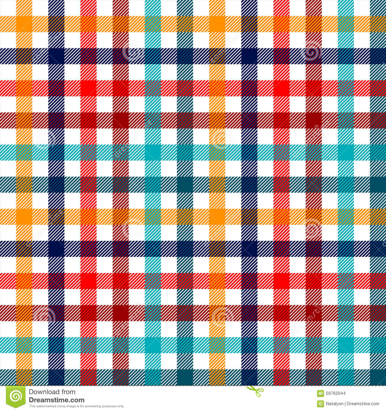 Plaid Bunt Colorful Checkered Gingham Plaid Fabric Seamless Pattern