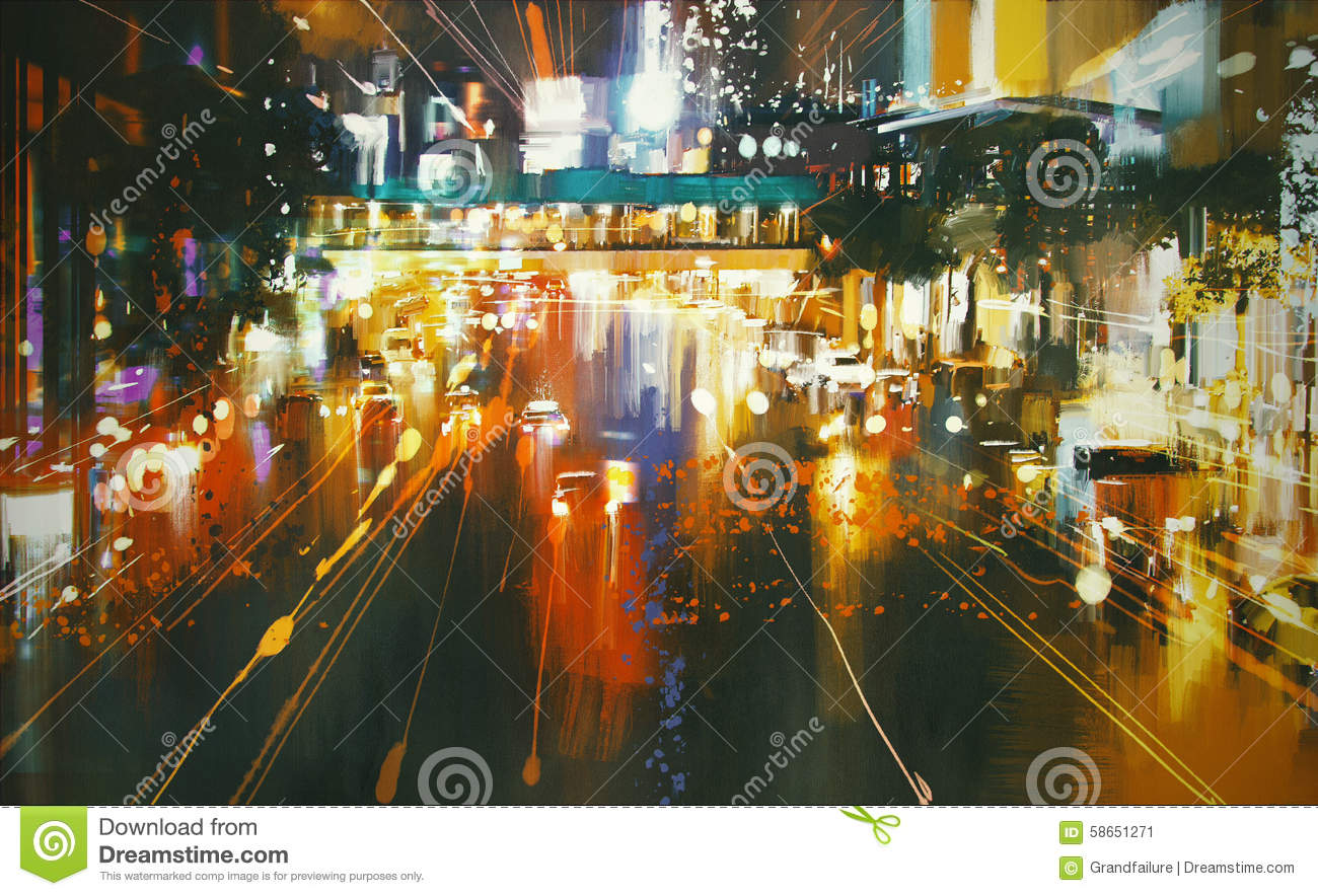 Street Light At Night Painting Colorful City Street At Night Stock Illustration Image