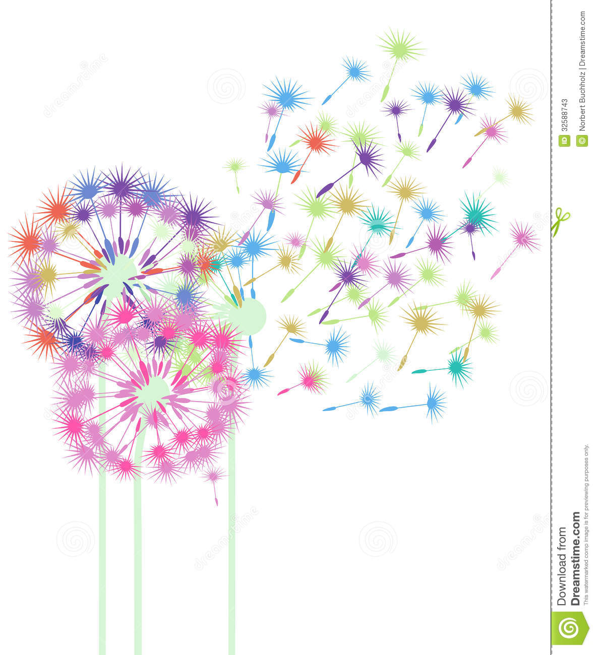 Fall Colored Background Wallpaper Colorful Dandelions In The Wind Stock Vector