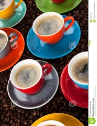 Colorful Espresso cups stock photo. Image of coffee ...