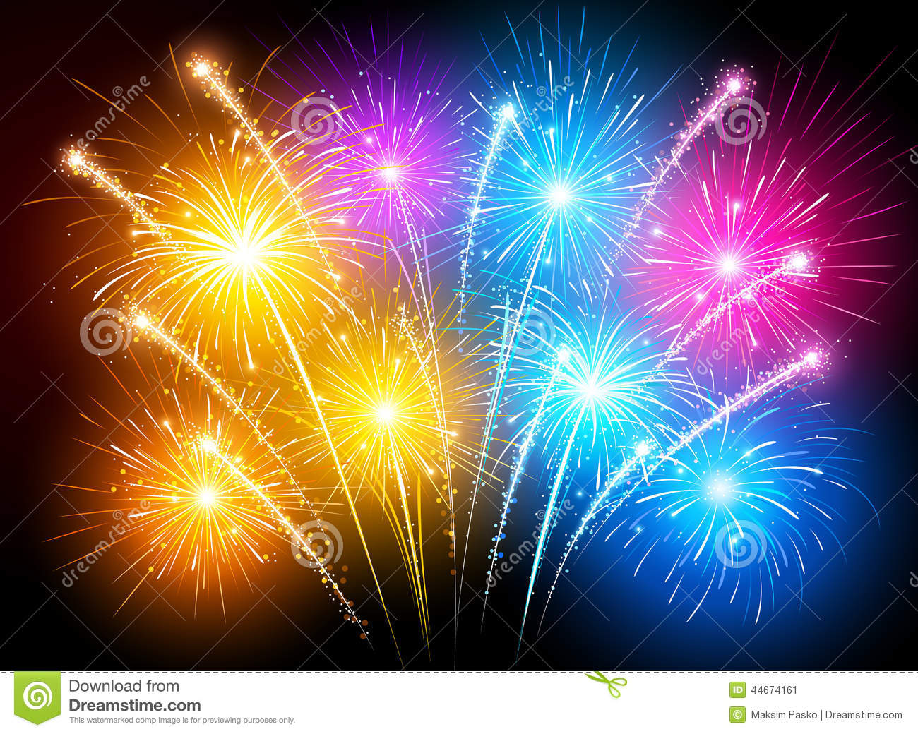 Night Sky 3d Wallpaper Colorful Fireworks Stock Vector Image 44674161