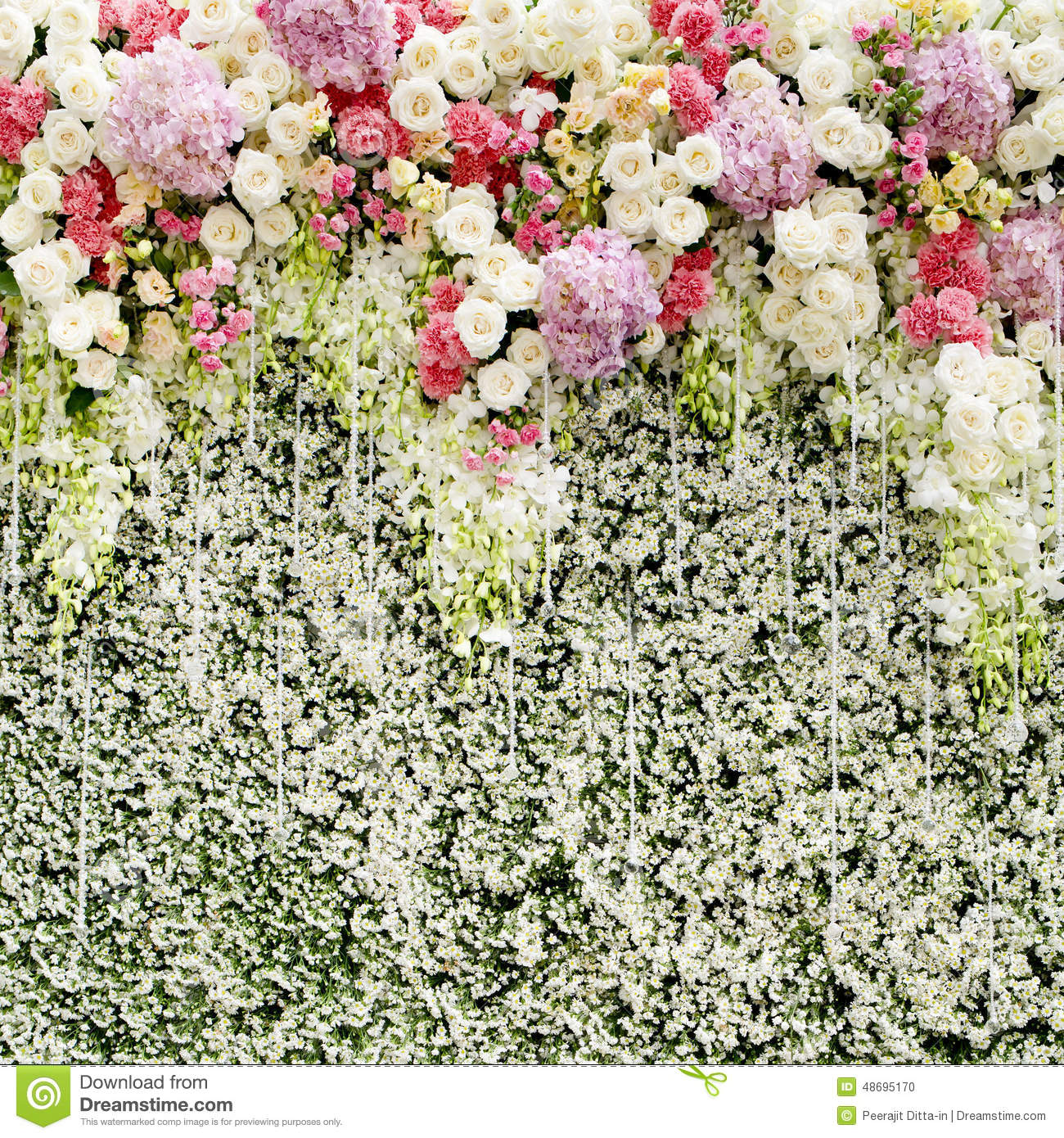 3d Brick Wallpaper Philippines Colorful Flowers With Green Wall For Wedding Backdrop