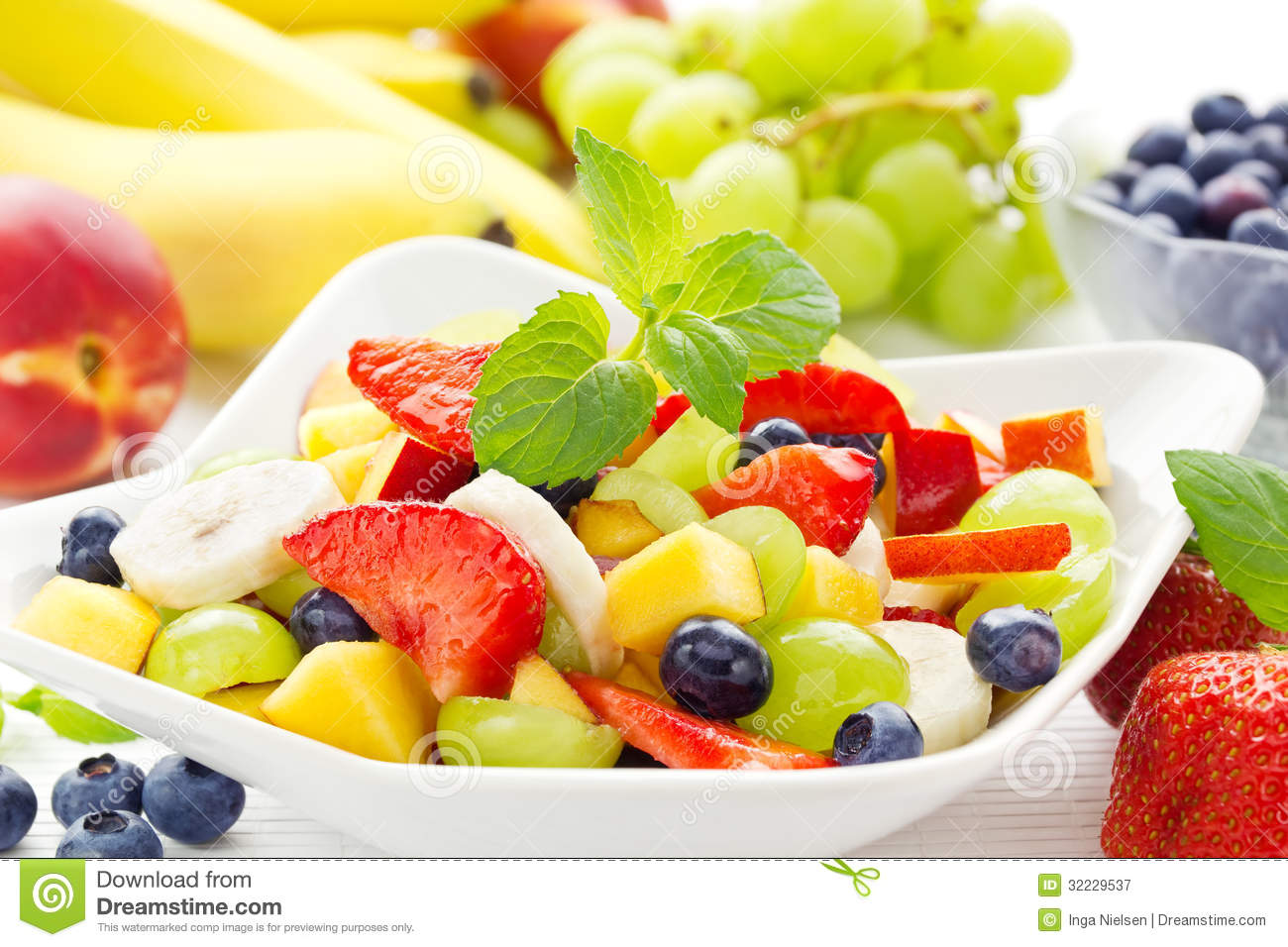 Colorful Fruit Bowl Fruit Salad Topping On Tofu Milk Royalty Free Stock