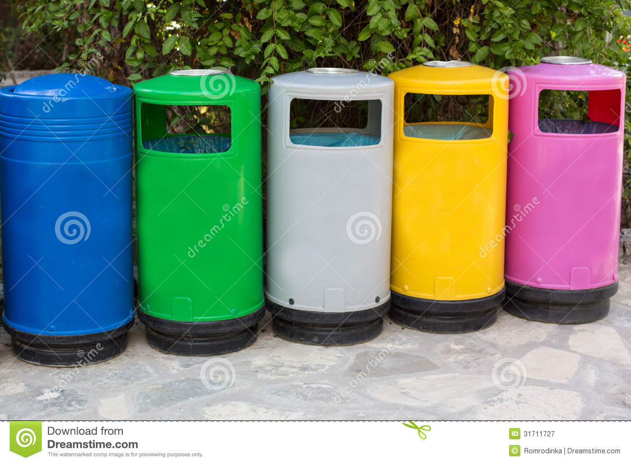 Colorful Garbage Cans Colorful Garbage Cans For Different Kind Of Garbage Stock Image
