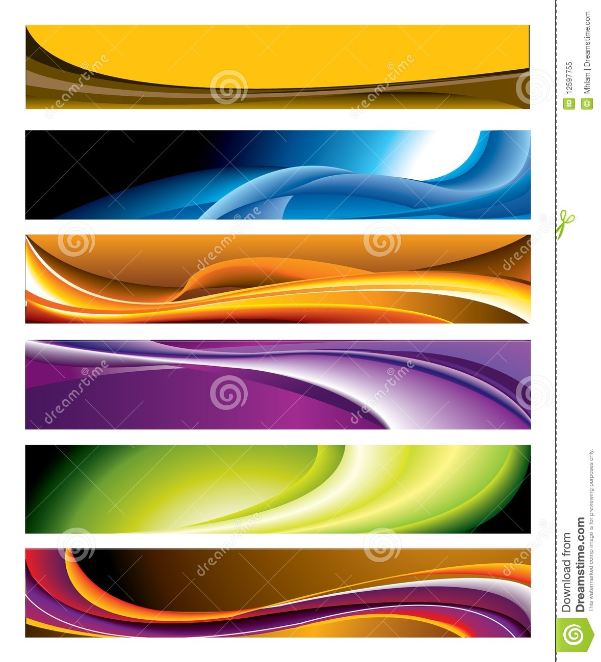 White Wave 3d Wallpaper Colorful Horizontal Banner Collection Royalty Free Stock
