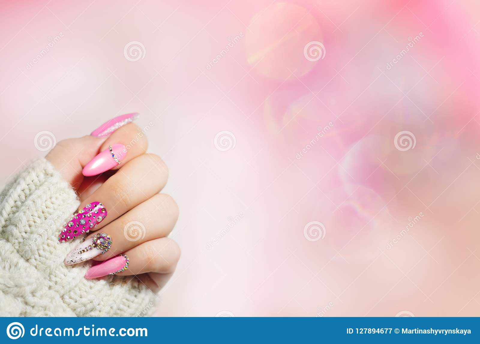 Colorful Nail Art Manicure Holiday Style Bright Manicure Wi Stock Image Image Of Fashion Hand 127894677