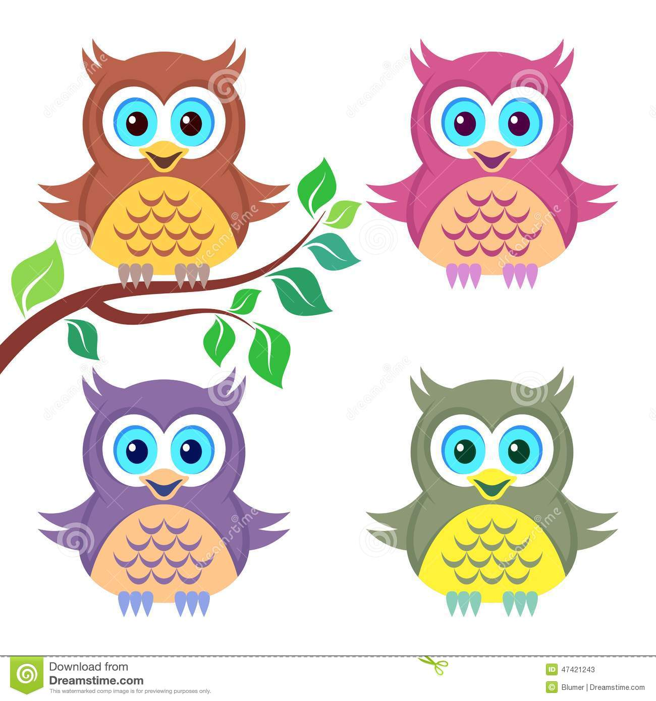 Colorful Pictures Of Owls Colorful Owls Stock Vector Image 47421243