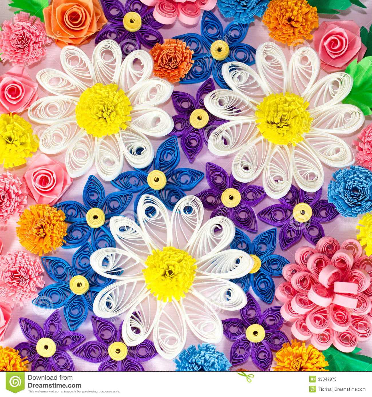 Buntes Papier Colorful Paper Quilling Flowers Stock Photos Image 33047873