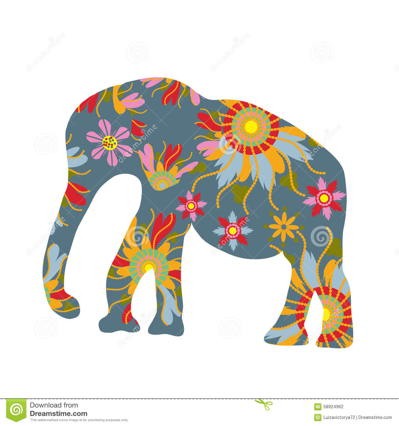Air Lines Thai Colorful Print With Elephant Silhouette, Image Stock