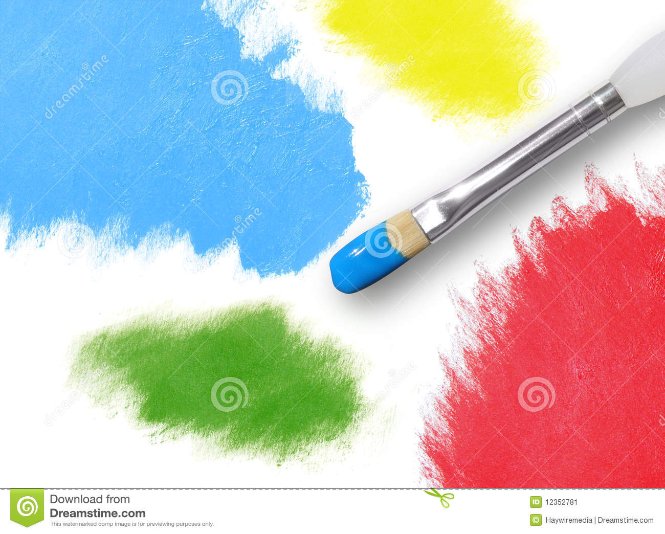 Malerpinsel Clipart Colorful Rainbow Paint Splatters And Paintbrush Stock