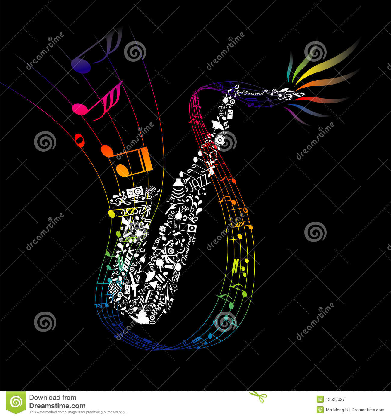 Bakery Wallpaper Hd Colorful Saxophone With Composed Music Elements Royalty