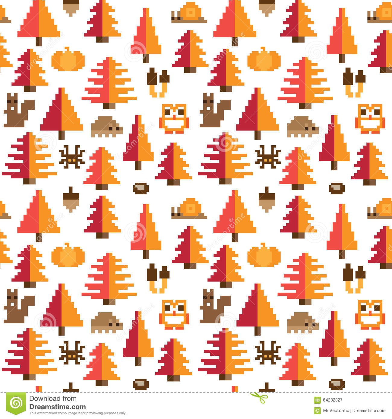 Fall Owl Desktop Wallpaper Colorful Seamless Pixel Pattern With Autumn Elements Stock