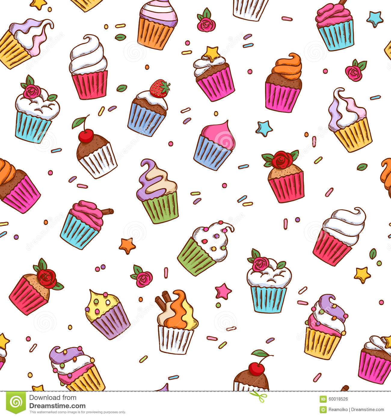 Cute Cupcake Wallpaper Colorful Sketch Doodle Style Cupcakes Pattern Stock Vector