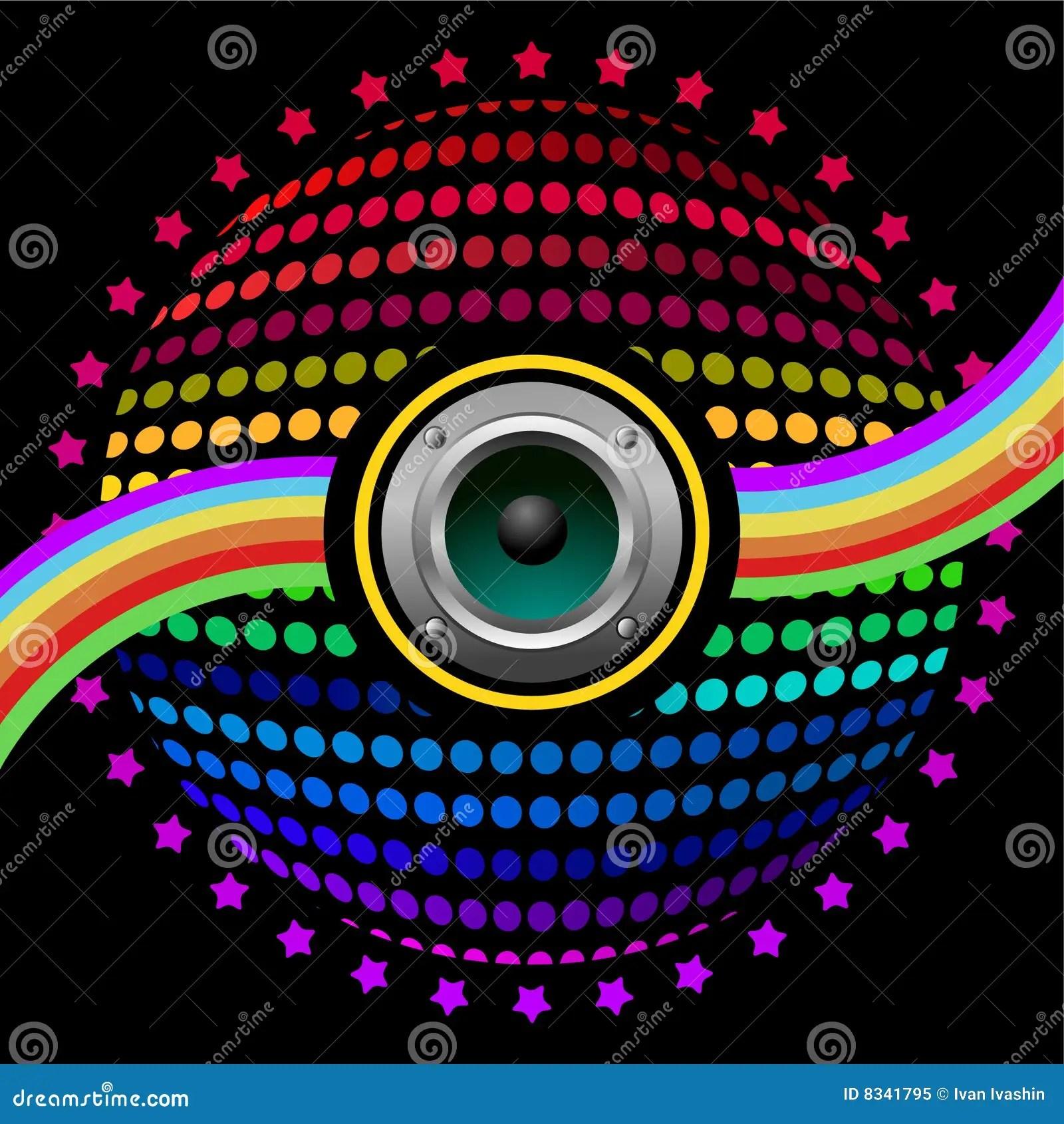 3d Dj Wallpaper Free Download Colorful Speaker Background Stock Illustration