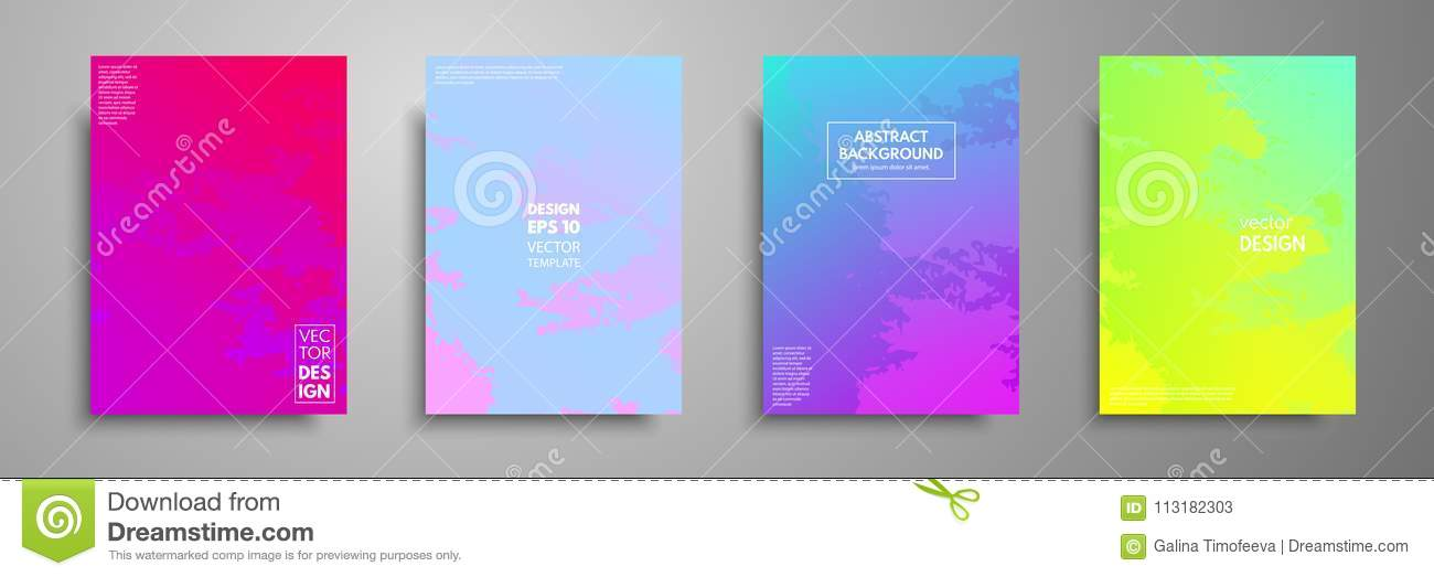 Colorful Templates Set With Textures Applicable For Brochures